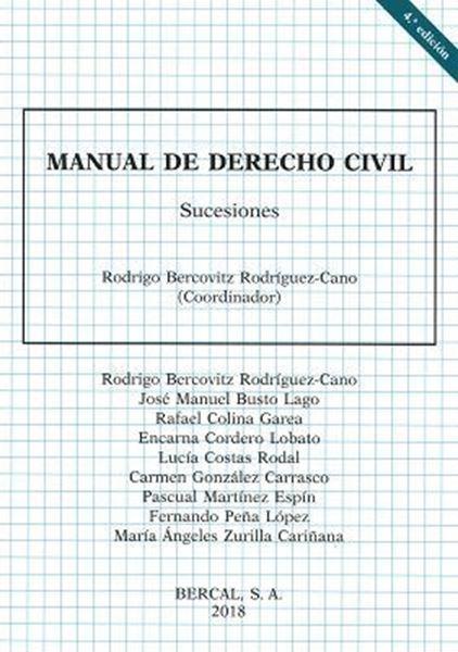Imagen de Manual Derecho Civil. Sucesiones 4ª ed, 2018
