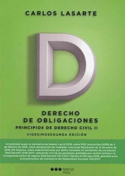 Imagen de Principios de Derecho Civil II. Derecho de Obligaciones. 22 ª ed, 2018