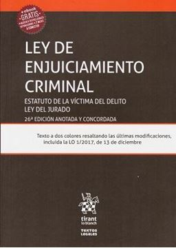 """Imagen de Ley de Enjuiciamiento Criminal 26ª ed, 2018 """"Estatuto de la víctima del delito. Ley del Jurado"""""""