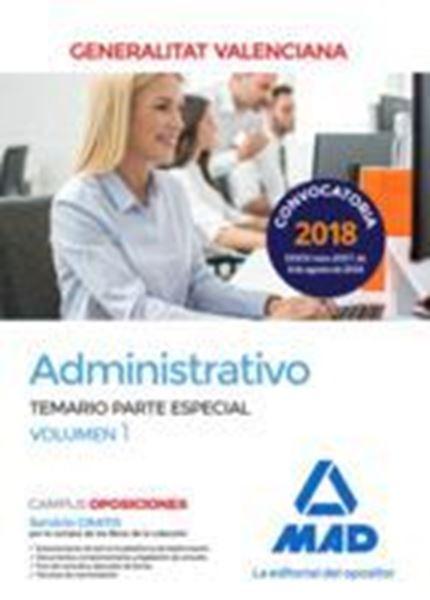 Imagen de Temario Parte Especial Volumen 1 Administrativo Generalitat Valenciana, 2018