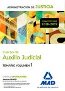 """Imagen de Temario Volumen 1 Cuerpo de Auxilio Judicial,  2018-2019 """"Administración de Justicia"""""""