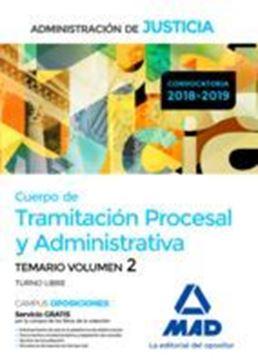 """Imagen de Temario Volumen 2 Cuerpo de Tramitación Procesal y Administrativa 2018-2019 """"Administración de Justicia"""""""