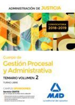 """Imagen de Temario Volumen 2 Cuerpo de Gestión Procesal y Administrativa 2018-2019 """"Administración de Justicia"""""""