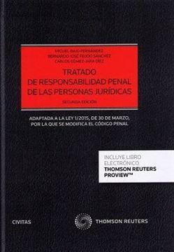 """Imagen de Tratado de responsabilidad penal de personas jurídicas """"Adaptadas a la ley 1/2015, de 30 de marzo por la que se modifica el código penal"""""""