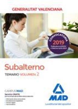 Imagen de Temario Volumen  2 Subalternos de la  Generalitat Valenciana  2019