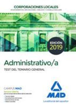 Imagen de Test del Temario General Administrativo/a Corporaciones Locales, 2019
