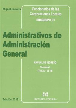 """Imagen de Manual de ingreso Administrativos de Administración General 2 Tomos, 2019 """"Funcionarios de las corporaciones locales. Subgrupo C1"""""""