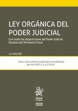 """Imagen de Ley Orgánica del Poder Judicial, 24ª ed, 2019 """"Con todas las disposiciones del Poder Judicial Estatuto del Ministerio Fiscal"""""""