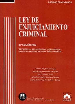 """Imagen de Ley de Enjuiciamiento Criminal. 21º Ed, 2020 """"Comentarios, concordancias, jurisprudencia, legislación complementaria e índice analítico"""""""