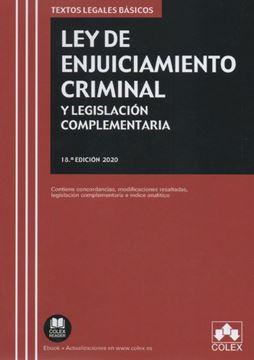 """Imagen de Ley de Enjuiciamiento Criminal y Legislación complementaria, 18ª Ed, 2020 """"Contiene concordancias, modificaciones resaltadas e índice analítico"""""""