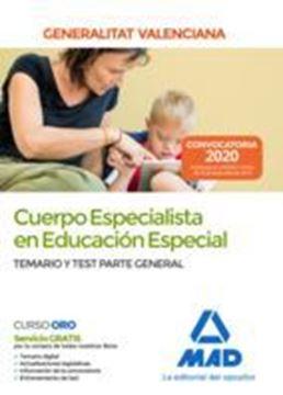 """Imagen de Temario y Test Parte General Cuerpo Especialista en Educación Especial, 2020 """"Generalitat Valenciana"""""""