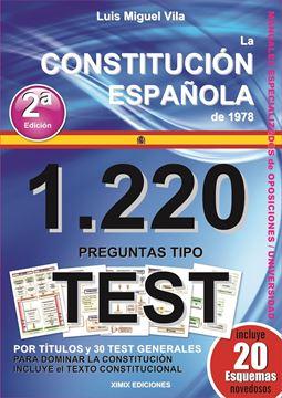 Imagen de 1220 Preguntas Tipo Test. La Constitución Española de 1978, 3º Ed, 2021