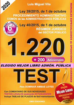 """Imagen de 1220 Preguntas Tipo Test. Ley 39/2015, de 1 de octubre, del Procedimiento Administrativo Común  """"Ley 40/2015, de 1 de octubre Régimen Jurídico del Sector Público"""""""