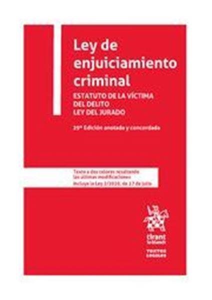 """Imagen de Ley de enjuiciamiento criminal, 29ª ed, 2020 """"Estatuto de la Víctima del Delito Ley del Jurado"""""""