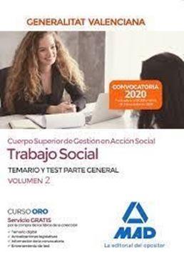 """Imagen de Temario y test parte especial Volumen 2 Trabajo Social, 2020 """"Cuerpo superior de gestión en Acción Social Generalitat Valenciana"""""""