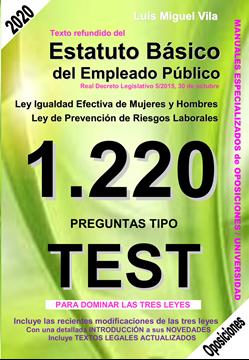 """Imagen de 1220 Preguntas Tipo Test Texto refundido del Estatuto Básico del Empleado Público, 2021 """"Ley igualdad efectiva de mujeres y hombres. Ley de prevención de riesgos laborales"""""""