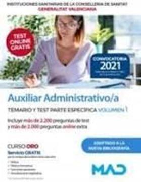 "Imagen de Temario y test parte específica volumen 1 Auxiliar Administrativo Instituciones Sanitarias, 2021  ""Generalitat Valencia"""